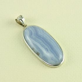 Elongated Blue Lace Agate Pendant