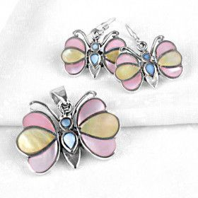 Pastel Colors Mother of Pearl Butterfly Set