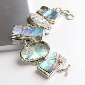 Abalone In Silver Toggle Bracelet