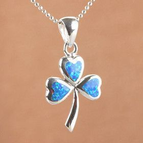 Opal pendants october birthstone pendants opal shamrock pendant aloadofball Image collections