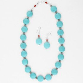 Turquoise Jewelry Set - Necklace & Earrings