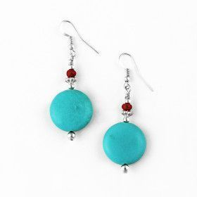 Created Turquoise Hook Earrings