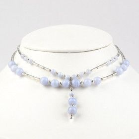 Blue Lace Agate and Silver Necklace