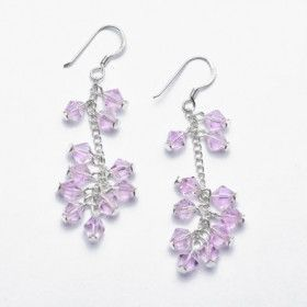 Pink Crystal and Silver Earrings