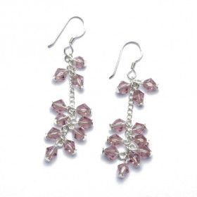 Light Purple Crystal and Silver Earrings