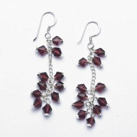 Dark Magenta Crystal and Silver Earrings