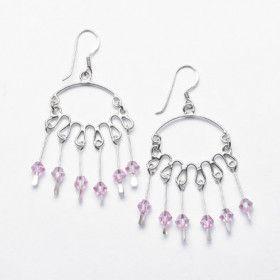 Sterling Silver and Pink Crystal Chandelier Earrings
