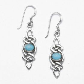 Sterling Silver Celic Knot Earrings with Turquoise Stones