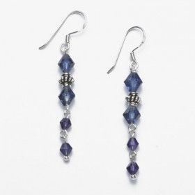 Dark Purple Crystal Earirngs with Sterling Silver