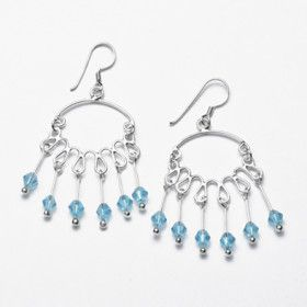 Sterling Silver and Blue Crystal Chandelier Earrings
