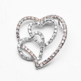 Silver Hearts Pendant with Cubic Zirconia