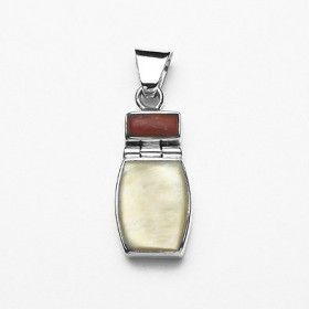 Mother of Pearl and Coral Pendant