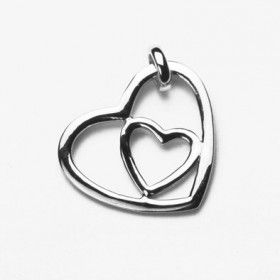 Heart in a Heart Sterling Silver Pendant