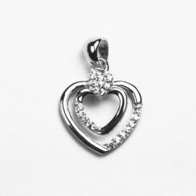 Two Hearts Together Sterling Silver Pendant
