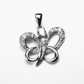Crystal and Sterling Silver Butterfly Pendant