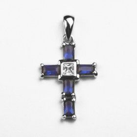 Blue Crystal Cross Pendant