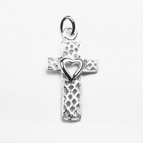 Sterling Silver Heart in Cross Pendant