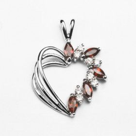 Sterling Heart Pendant with Austrian Crystals