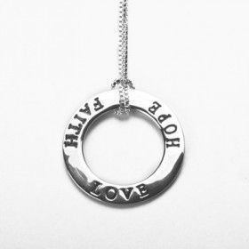 Hope Faith and Love Sterling Silver Necklace