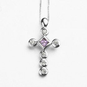 Rhodium Plated Cross Necklace with Austrian Crystals