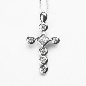 Cross Necklace with Rhodium Plating
