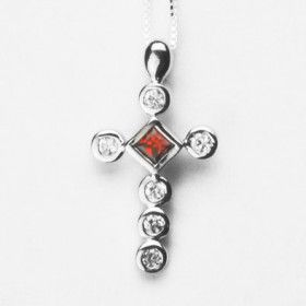 Ruby Simulated Cross Necklace with Rhodium Plating