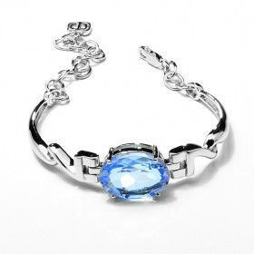 Blue Quartz Oval Cut Silver Bracelet