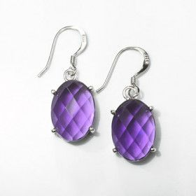 Amethyst Hook Earrings