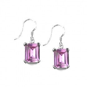 Pink Topaz Silver Hook Earrings