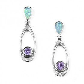 Modern Opal & Amethyst Earrings