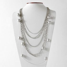 Multi-strand Silver Chain Necklace and Earrings Set