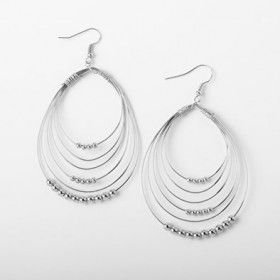 Silver Beaded Multi-Hoop Earring