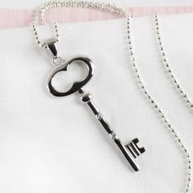 Silver Key with CZ Necklace