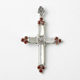Ornate Mother-of-Pearl Cross Pendant