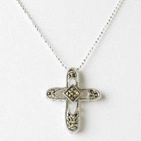 Glittering Marcasite and Silver Cross Necklace