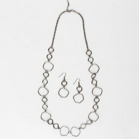 Unique Charcoal Silver Chain Necklace and Earrings Set
