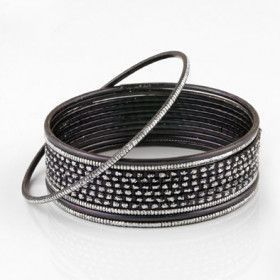 Black Fashion Bangle Bracelet Set