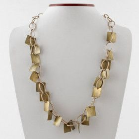 Bronze and Brass Chain Necklace and Earrings Set