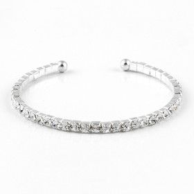 Crystal Silver Bangle Bracelet