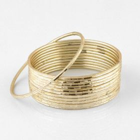 Gold Sparkle Fashion Bangle Bracelet