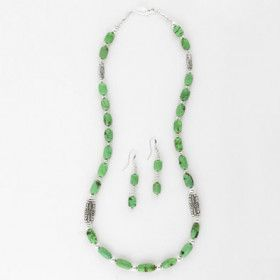 Green Royston Turquoise Earrings and Necklace Set