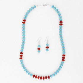 Coral Stripes Turquoise Earrings and Necklace Set