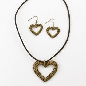 Love Never Fails Bronze Necklace and Earrings Set