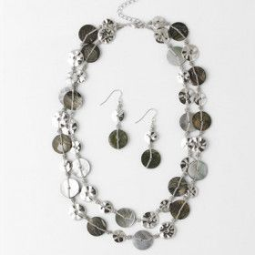 Abalone Layered Two-strand Necklace and Earrings Set
