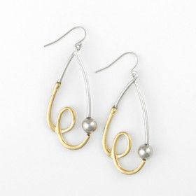 Gold and Silver Stylized Teardrop Earrings