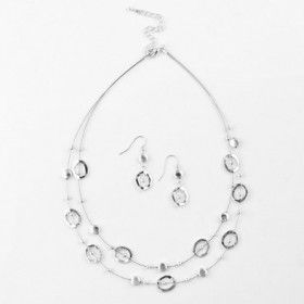Hammered Silver Floating Necklace and Earrings Set