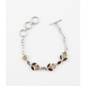 Multi-colored Gemstone Chain Bracelet