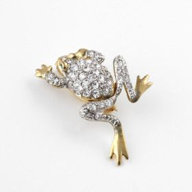 Cute Gold Frog Pin with Austrian Crystals