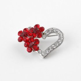 Red and White Austrian Crystal Heart Brooch