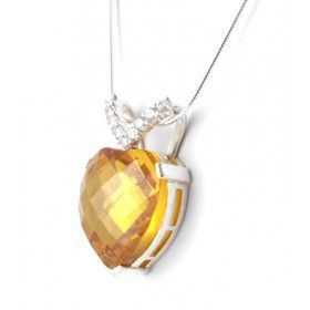 Topaz CZ Heart Pendant Necklace